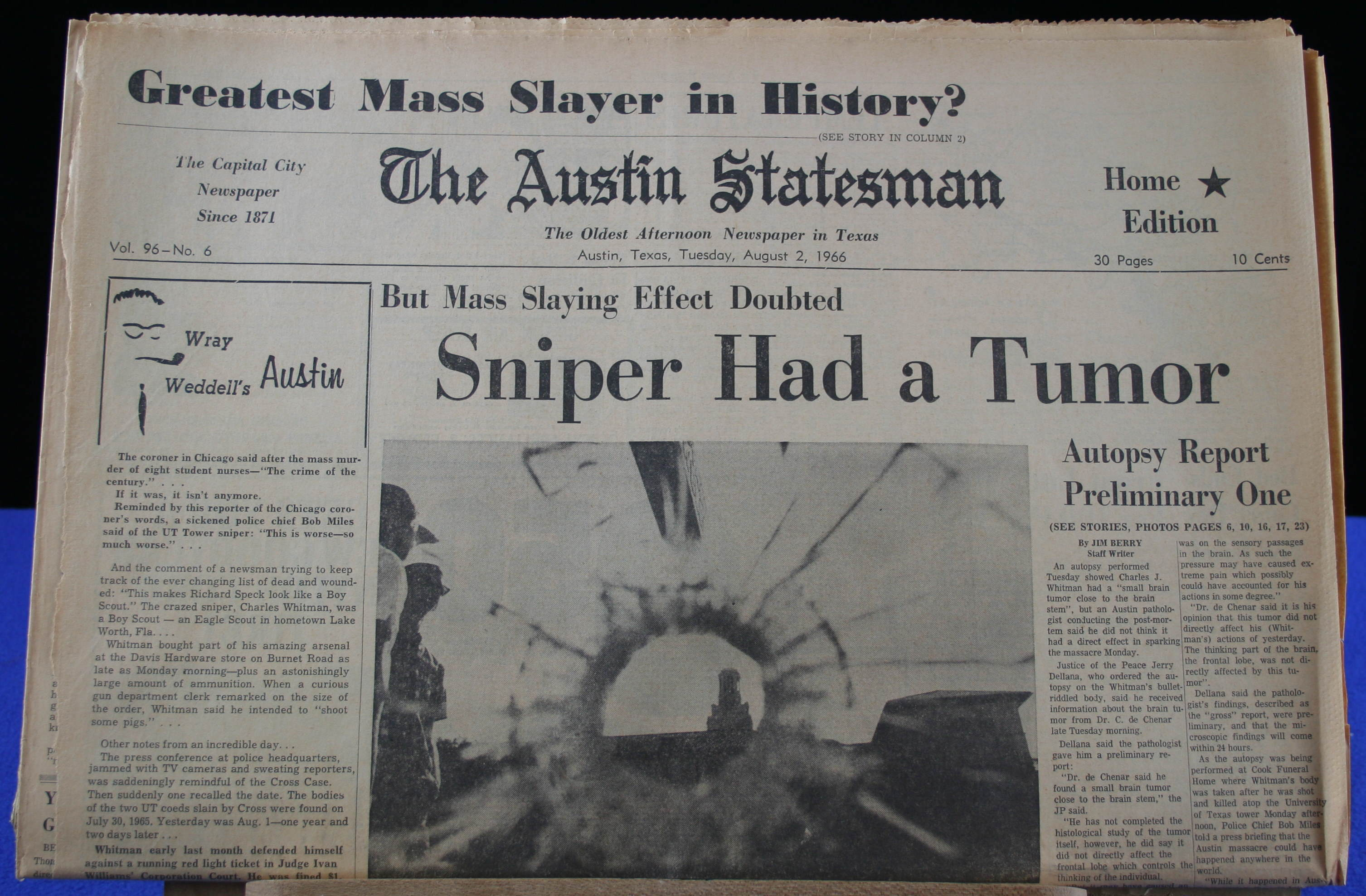Friday august 5 1966 austin statesman afternoon paper front page